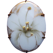 Gorgeous Antique Handpainted Porcelain Lily Brooch