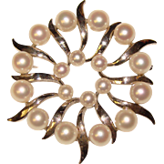 Fine MIKIMOTO Sterling & Cultured Pearl Vintage Brooch