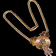 Fabulous KREMENTZ Signed Vintage Blue Rhinestone Snake Chain Necklace