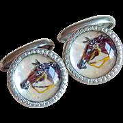 Art Deco Horse Domed Glass Vintage Cufflinks