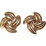 Gorgeous STERLING SILVER Signed Vintage Clip Earrings