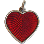 Vintage Sterling & Enamel Red Heart Denmark Pendant or Charm