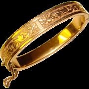 Antique Victorian Gold Filled Signed Bangle Bracelet