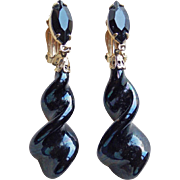 Lewis Segal Vintage Black Glass Estate Earrings