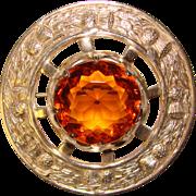 Fabulous Vintage Scottish AMBER GLASS Kilt Pin