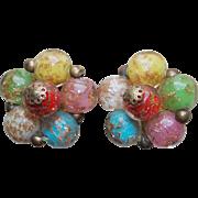 Vintage Venetian Glass Murano Color Bead Earrings