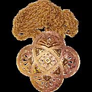 Fabulous TRIFARI Large Golden Textured Pendant Necklace