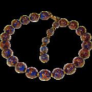 Fabulous VENETIAN MURANO GLASS Aventurine Blue Gold Flecked Vintage Estate Necklace