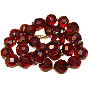 Fabulous CHERRY AMBER BAKELITE Faceted Bead Necklace