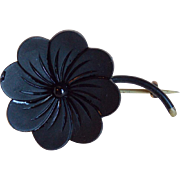Antique Victorian Black Glass French Jet Mourning Brooch