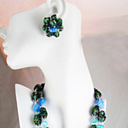 SALE Vintage Japan Sugar Bead and Lampwork Bead Necklace  Earring Set