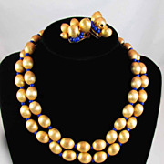 SALE Vintage Hattie Carnegie Brushed Gold Tone Cobalt Blue Bead Necklace and Earring Set