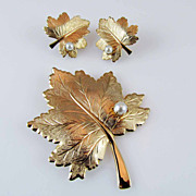 SALE Vintage Sarah Coventry 'Whispering Leaf' Brooch and Earring Set circa 1970