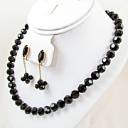 SALE Vendome Jet Crystal Bead Necklace Set