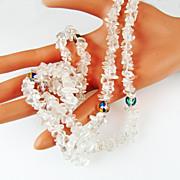SALE Vintage Quartz Chip and Black Diamond AB Crystal Bead Necklace