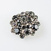 SALE Vintage Made in Austria Smoky Quartz Black Diamond Domed Brooch