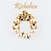 SALE Vintage Richelieu Faux Pearl Wreath Brooch