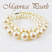 SALE Vintage Majorica Faux Pearl Necklace With Sterling Silver Clasp