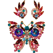 SALE Juliana DeLizza & Elster Iridescent Margarita Colorful Figural Butterfly Brooch & Earring