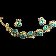 SALE Vintage Signed Schiaparelli Iridescent Molded Stone & Rhinestone Bracelet & Earrings
