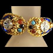 SALE Designer Quality Vintage Hinged Clamper Bracelet w/Simulated Jade, Carnelian Stones