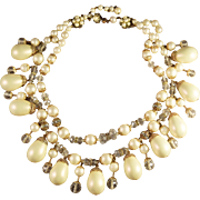SALE Vintage Signed Miriam Haskell Magnificent Bib Necklace w/Simulated Pearls
