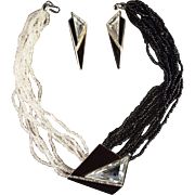 SALE Dramatic Trifari Kunio Matsumoto Signed Necklace, Brooch & Earring Set