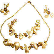 SALE Massive Chunky Simulated Pearl Pieces & Gold Tone Nugget Necklace, Bracelet & Earrings