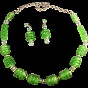 """SALE Unusual Signed Hobe Satin Glass Apple Green """"Magic Lantern"""" Design Necklace & E"""
