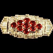 SALE Art Deco KTF Signed Crown Trifari Rhinestone Embedded Brooch