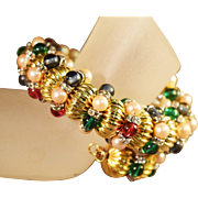 SALE SPECTACULAR Wm. DeLillo  Coiled Bracelet w/Vivid Colored Beads, Simulated Pearls & ...