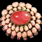 SUPERB Schreiner New York Signed Pink Swirled Cabochon Art Glass Domed Brooch
