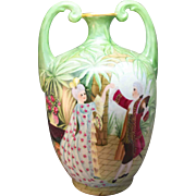 """SALE Jean Pouyat France Limoge 14"""" Stunning Vase with Scenic Decor Couple Dancing On Gard"""
