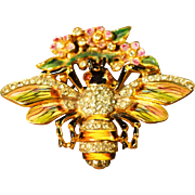 Sterling Craft Coro Enameled OUTSTANDING Figural Honey Bee Vintage Clip/Brooch
