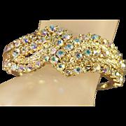 SALE Simmering Iridescent Aurora Borealis Rhinestone Clamper/Cuff Vintage Bracelet