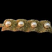 Massive Gold Tone Filigree Hattie Carnegie Signed Link Bracelet w/Enormous Simulated Pearls