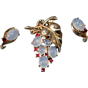 Sterling Silver Alfred Philippe Crown Trifari Faux Moonstone Figural Grape Fur Clip & Matching