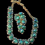 Glorious Iridescent Turquoise Blue Carved Melon Stone Coro Vintage Necklace & Bracelet