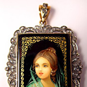 SALE GORGEOUS Art Deco 10K Gold Onyx Handpainted Veiled Lady Portrait Rose Cut Diamond Pendant