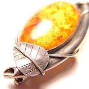 Vintage Elvish Baltic Amber Sterling Silver  Brooch Pendant with Leaf Detail