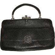 SOLD Vintage Black Leather Purse with Unique Clasps  AG & Co