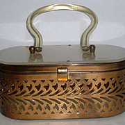 SOLD Vintage Cut Metal Purse with Marbleized Lucite Lid