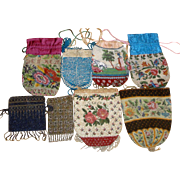 SOLD 8 Vintage Beaded Purses Floral Reticule Steel Beads +  LOT A