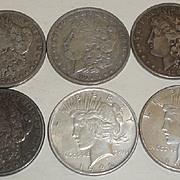 SOLD 6 Vintage U.S. Silver Coins 1879-1922