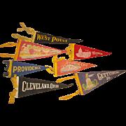 SOLD 7 Vintage Souvenir Felt Pennants from West Point Atlantic City Washington DC +