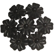 SOLD Vintage Pin Brooch with 7 Black Flowers