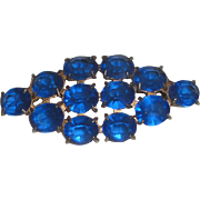 Vintage Brooch with 12 Bright Blue Faceted Stones