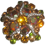 Vintage Brooch with Iridescent Green & Amber Stones