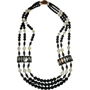 Vintage Triple-Strand Black & White Necklace with Mother-of-Pearl