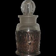 Vintage Glass Cruet with Stopper & EG Webster Silverplate Holder